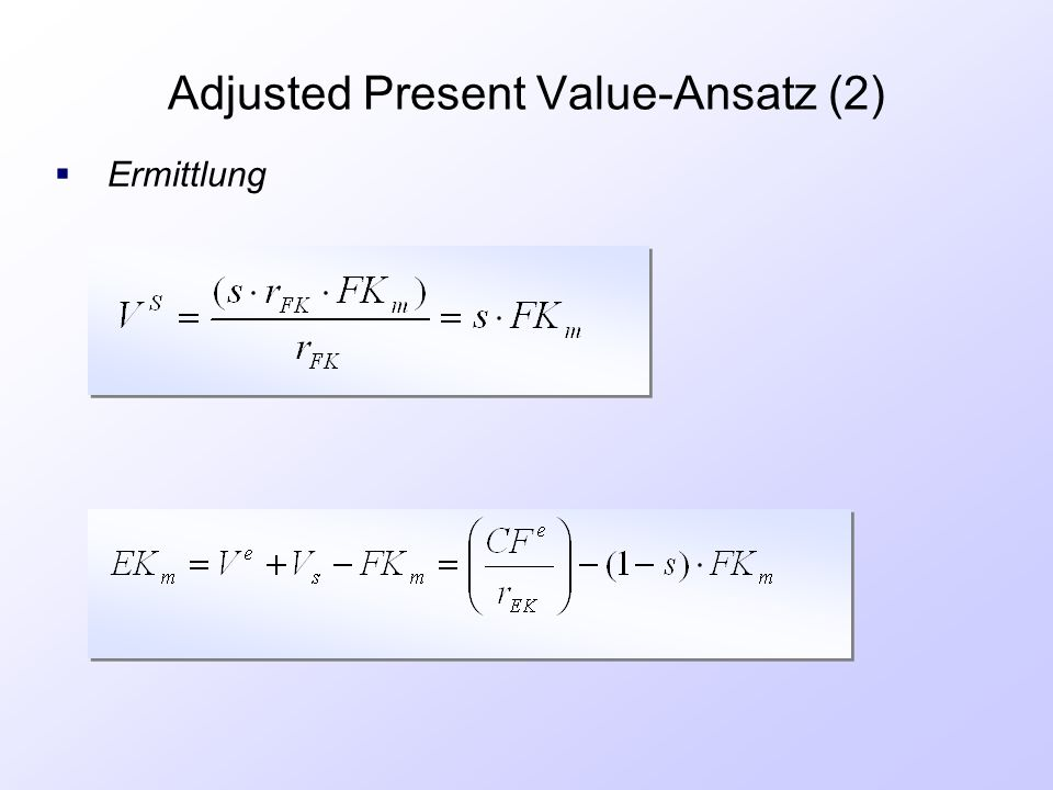 Adjusted Present Value-Ansatz (2)