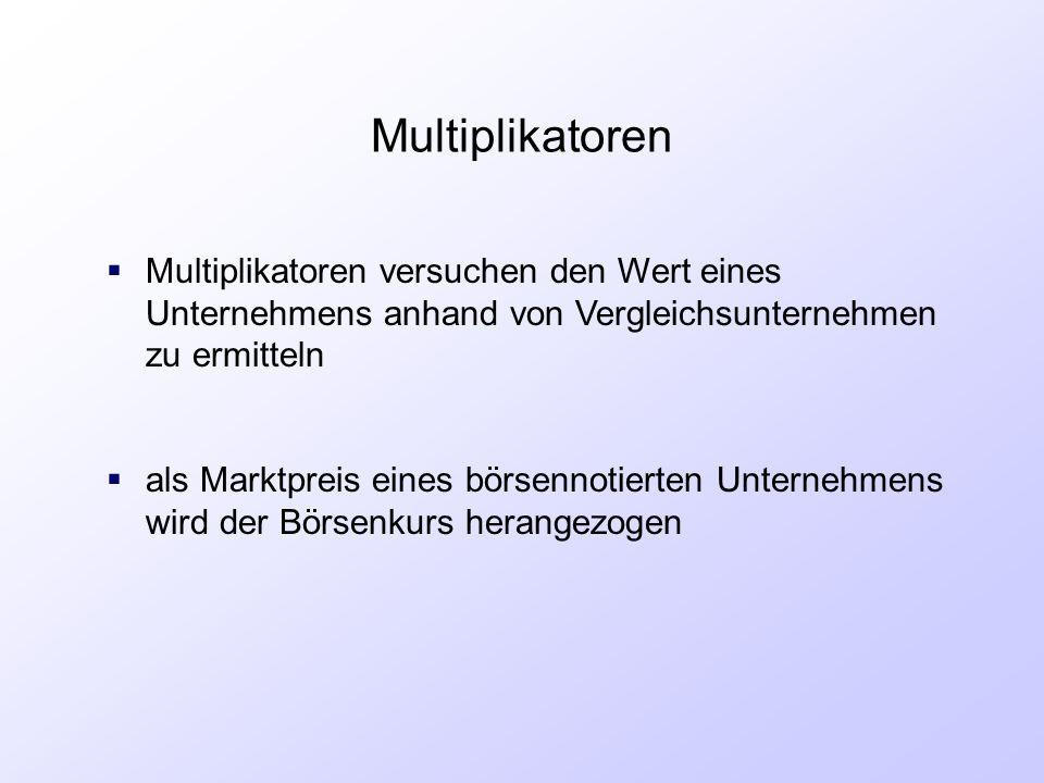 Multiplikatoren Multiplikatoren versuchen den Wert eines Unternehmens anhand von Vergleichsunternehmen zu ermitteln.