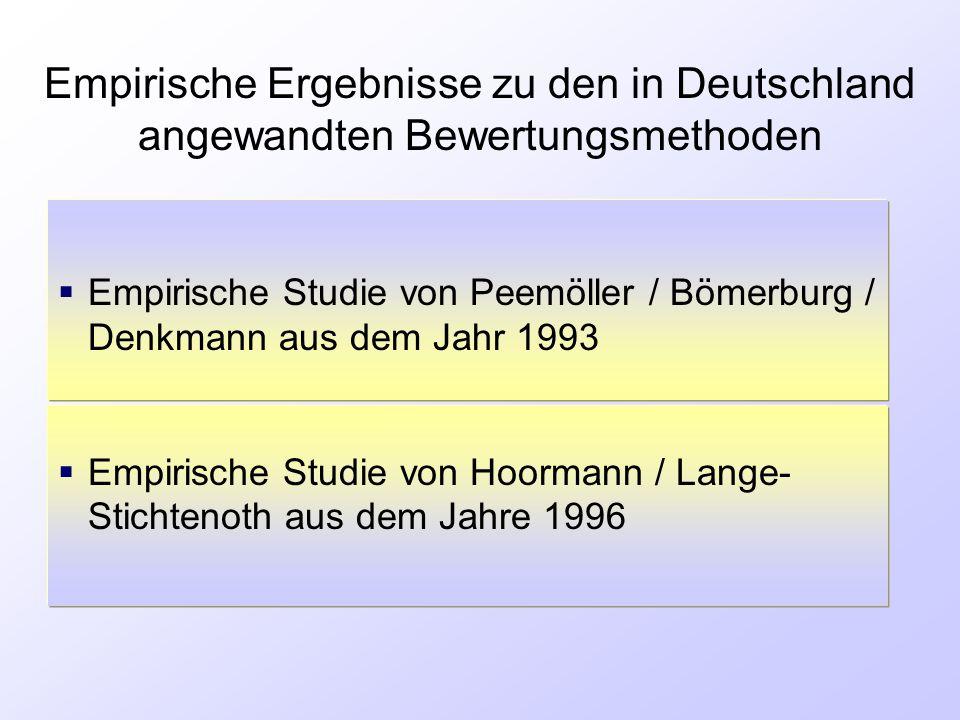 Empirische Ergebnisse zu den in Deutschland angewandten Bewertungsmethoden