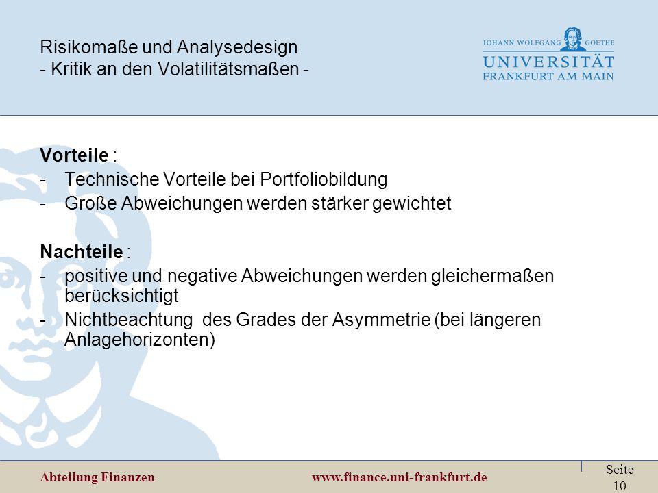 Risikomaße und Analysedesign - Kritik an den Volatilitätsmaßen -