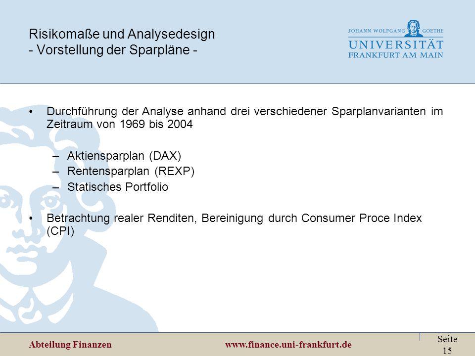 Risikomaße und Analysedesign - Vorstellung der Sparpläne -
