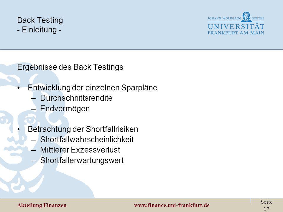 Back Testing - Einleitung -