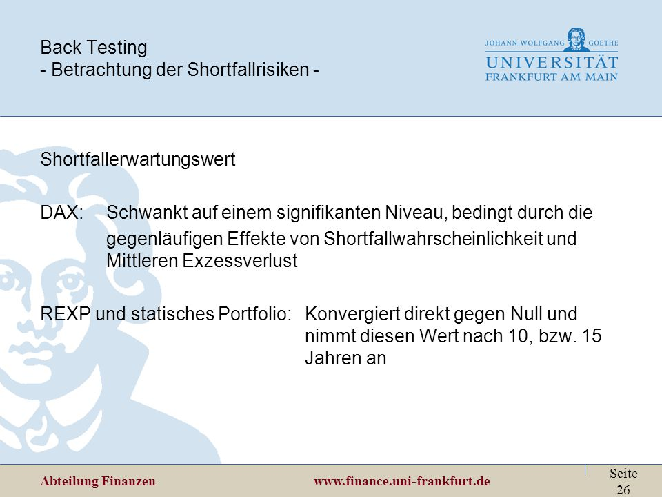 Back Testing - Betrachtung der Shortfallrisiken -
