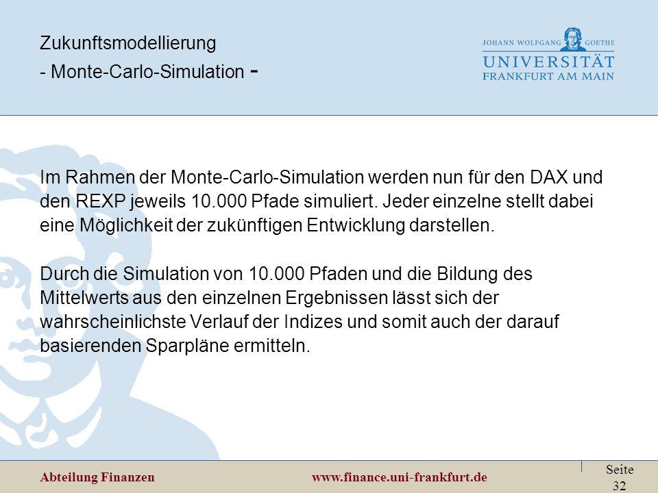 Zukunftsmodellierung - Monte-Carlo-Simulation -