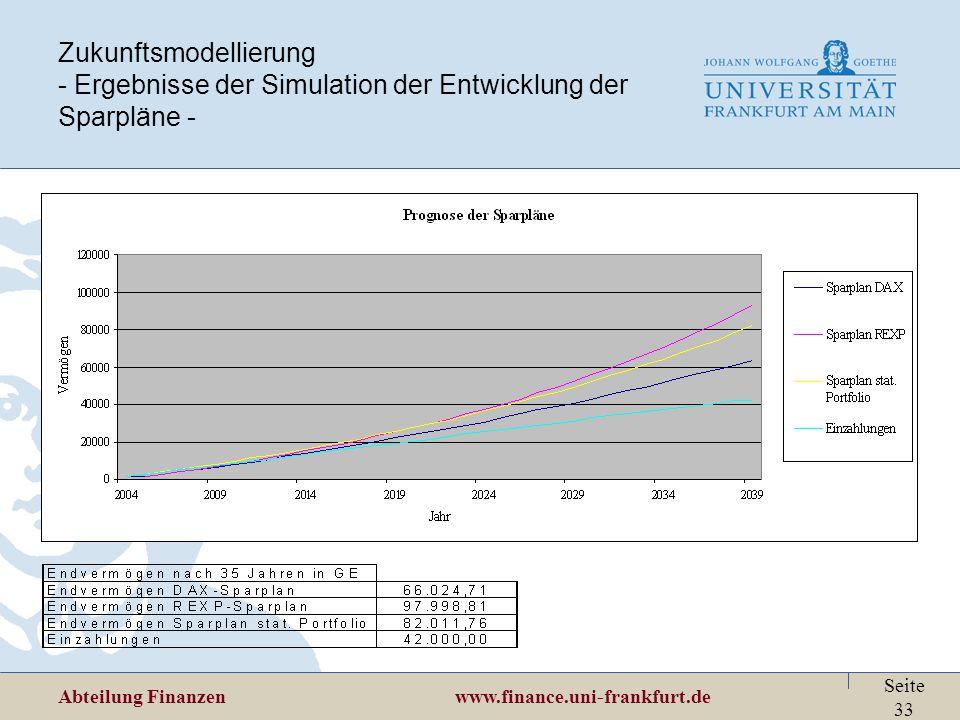 Zukunftsmodellierung - Ergebnisse der Simulation der Entwicklung der Sparpläne -