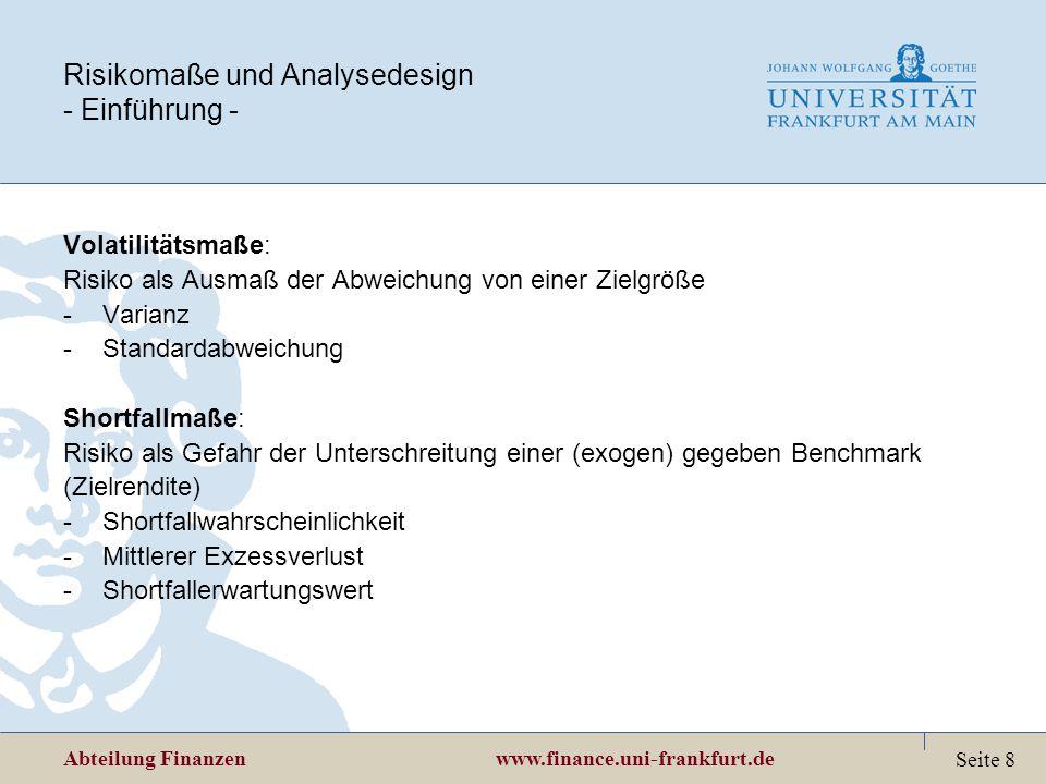 Risikomaße und Analysedesign - Einführung -