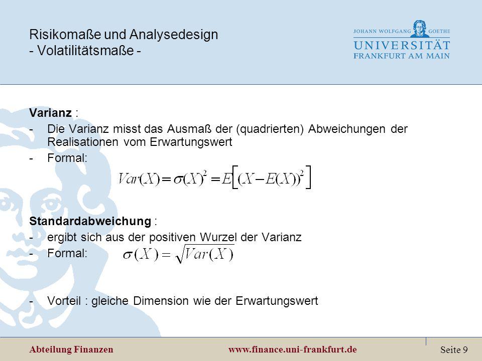 Risikomaße und Analysedesign - Volatilitätsmaße -