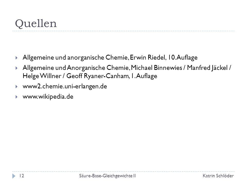 Quellen Allgemeine und anorganische Chemie, Erwin Riedel, 10. Auflage