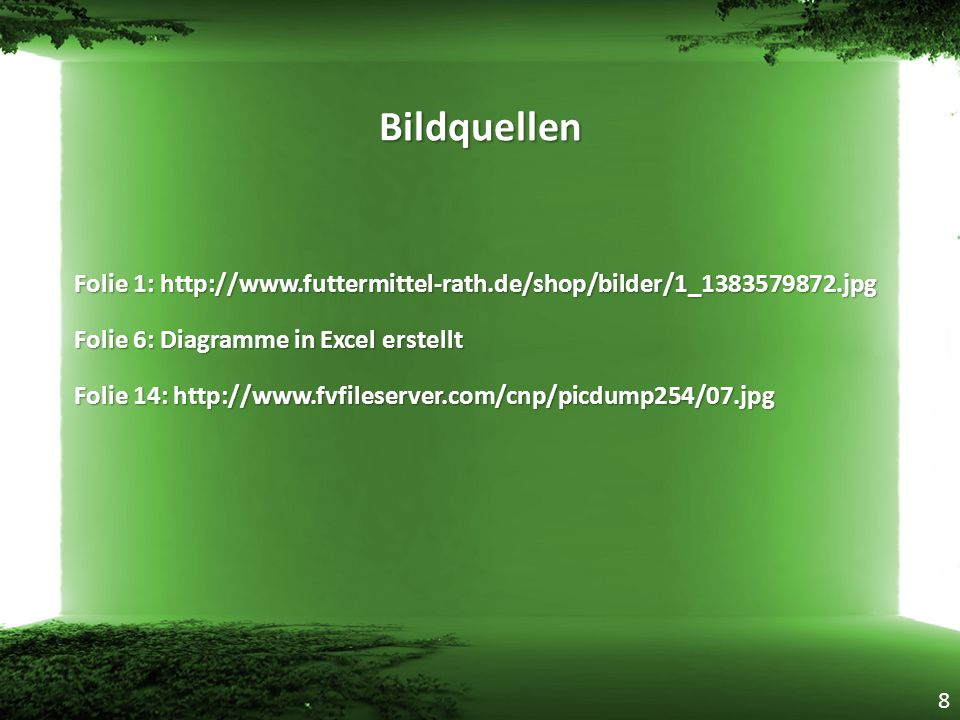 Bildquellen Folie 1: http://www.futtermittel-rath.de/shop/bilder/1_1383579872.jpg. Folie 6: Diagramme in Excel erstellt.