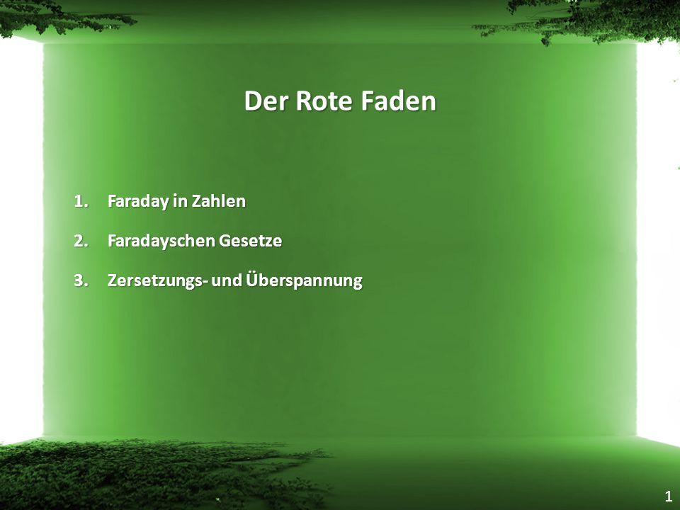 Der Rote Faden Faraday in Zahlen Faradayschen Gesetze