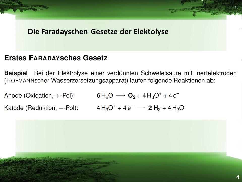 Die Faradayschen Gesetze der Elektolyse