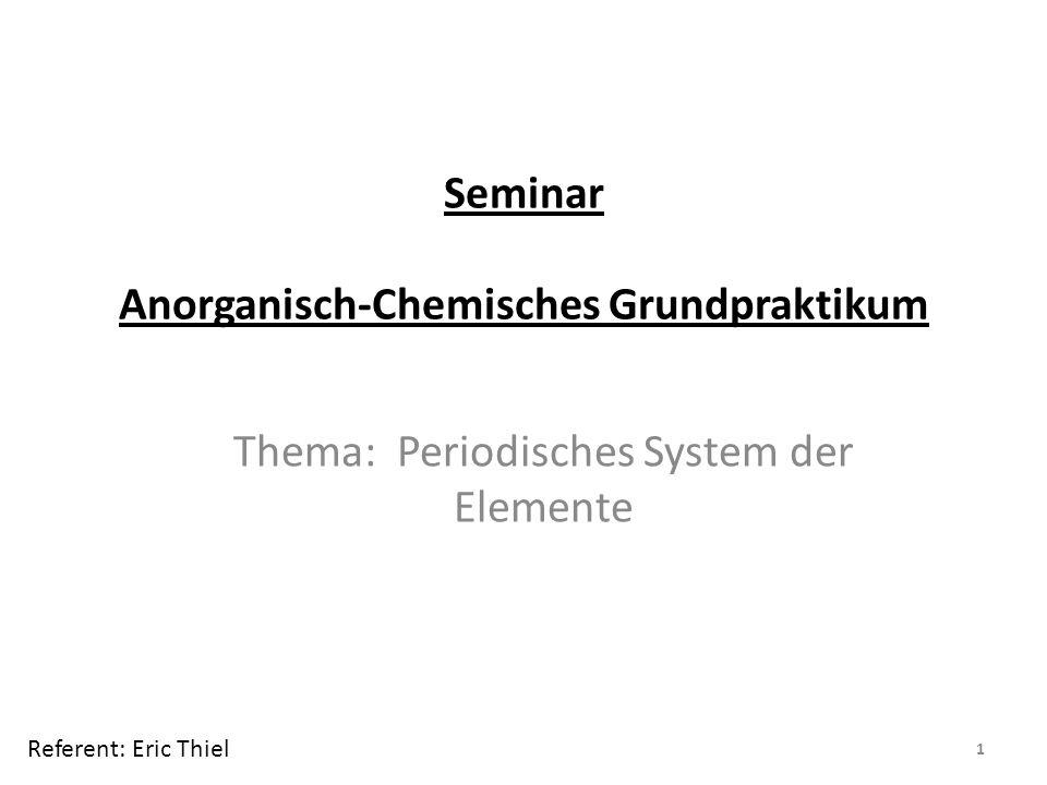 Seminar Anorganisch-Chemisches Grundpraktikum