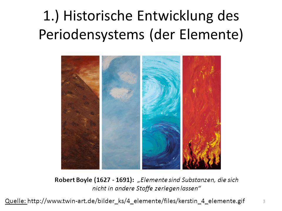 1.) Historische Entwicklung des Periodensystems (der Elemente)