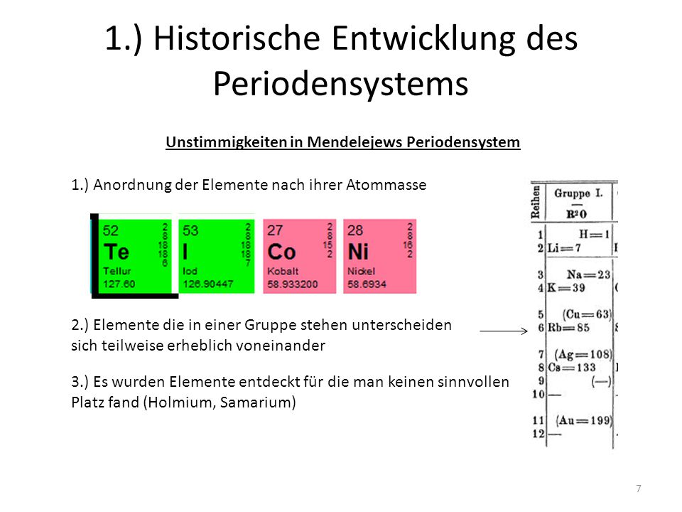 1.) Historische Entwicklung des Periodensystems