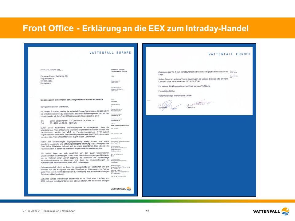 Front Office - Erklärung an die EEX zum Intraday-Handel