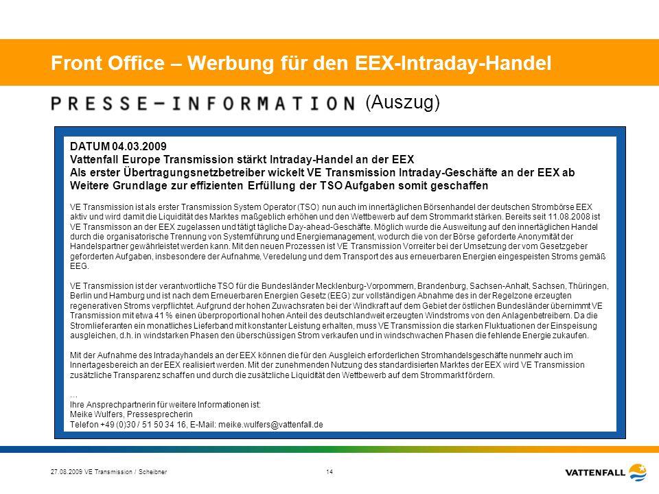 Front Office – Werbung für den EEX-Intraday-Handel