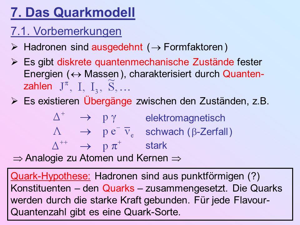7. Das Quarkmodell 7.1. Vorbemerkungen