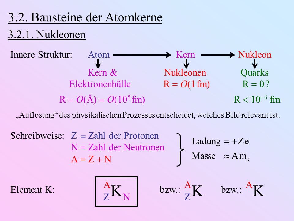 K K 3.2. Bausteine der Atomkerne 3.2.1. Nukleonen