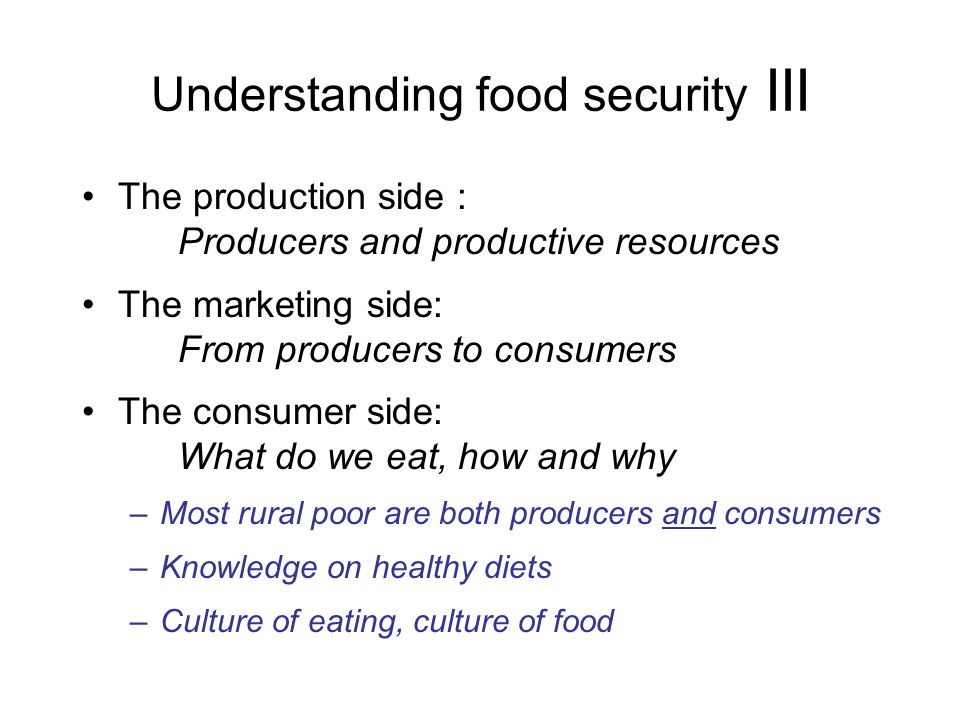 Understanding food security III