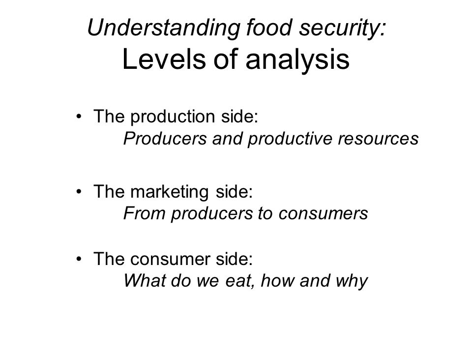 Understanding food security: Levels of analysis