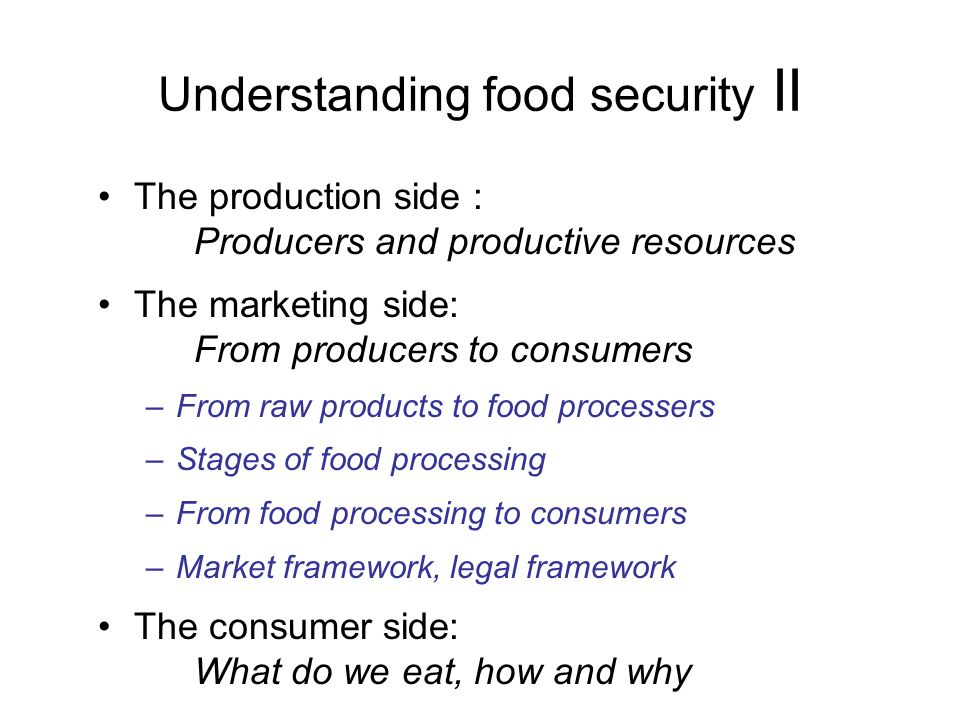 Understanding food security II