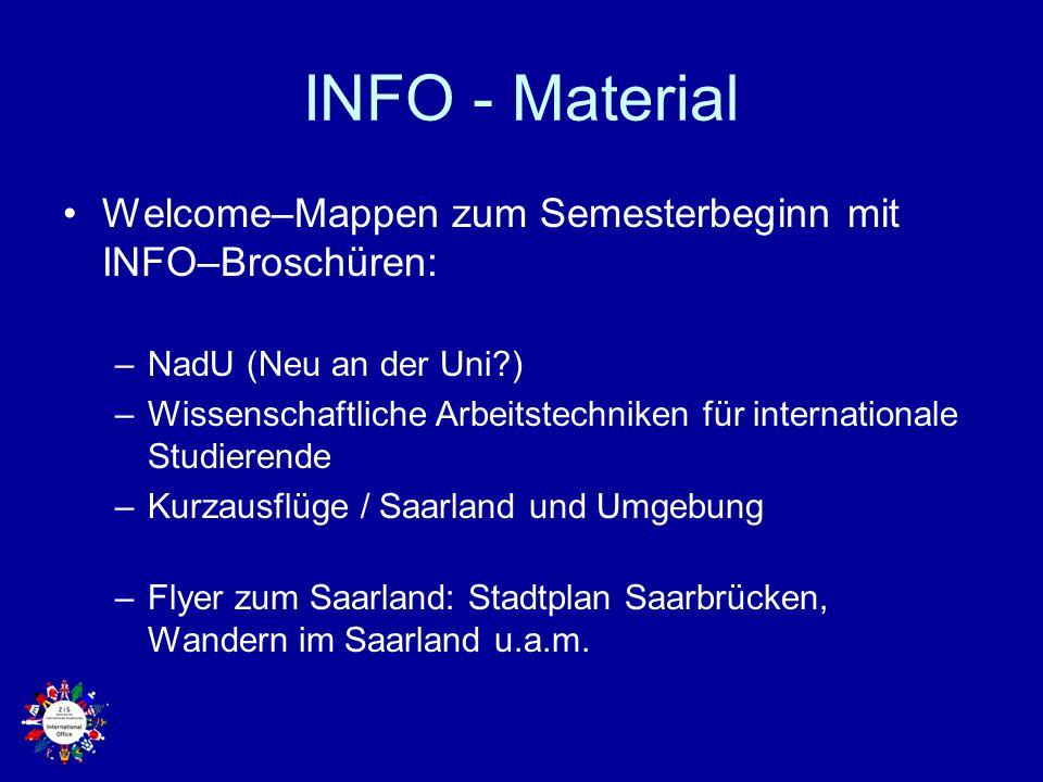 INFO - Material Welcome–Mappen zum Semesterbeginn mit INFO–Broschüren: