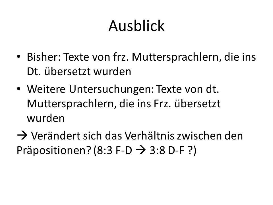 Ausblick Bisher: Texte von frz. Muttersprachlern, die ins Dt. übersetzt wurden.