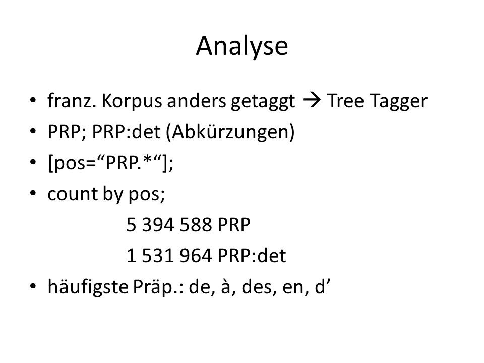 Analyse franz. Korpus anders getaggt  Tree Tagger