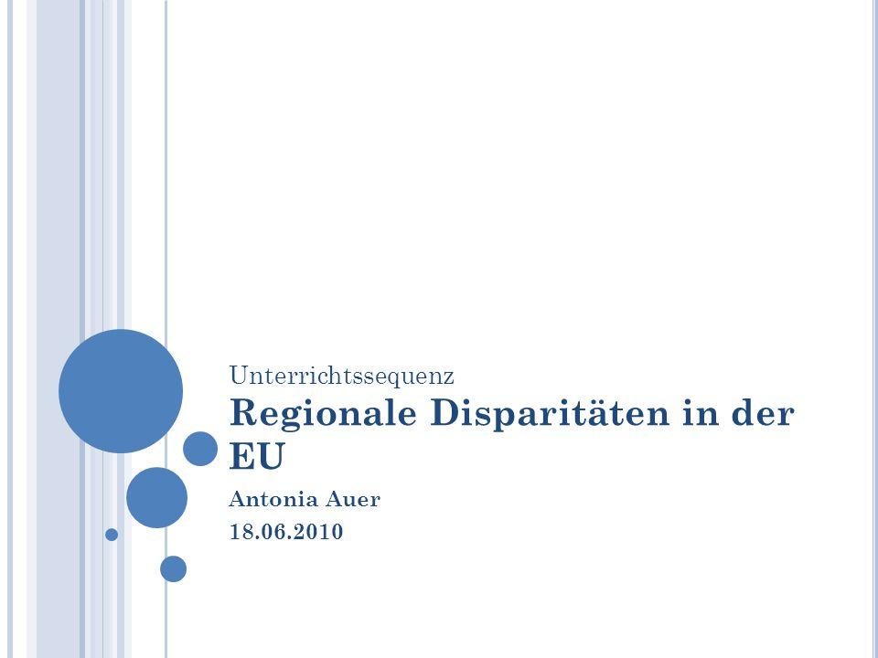 Unterrichtssequenz Regionale Disparitäten in der EU