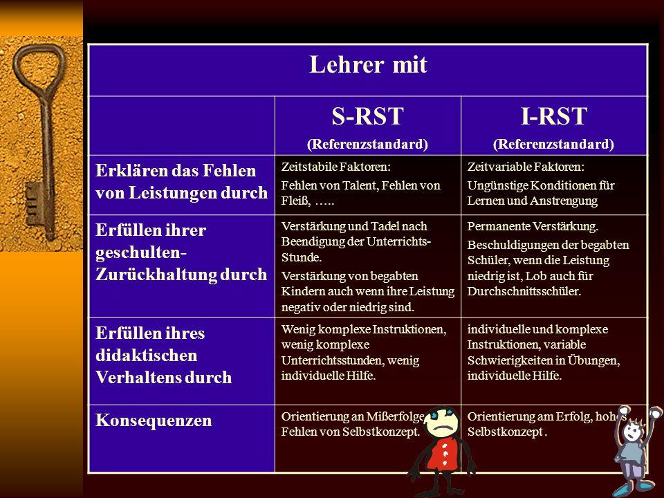 Lehrer mit S-RST I-RST Erklären das Fehlen von Leistungen durch