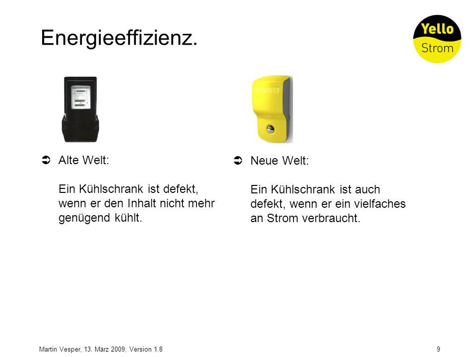 Energieeffizienz. Alte Welt: Ein Kühlschrank ist defekt, wenn er den Inhalt nicht mehr genügend kühlt.