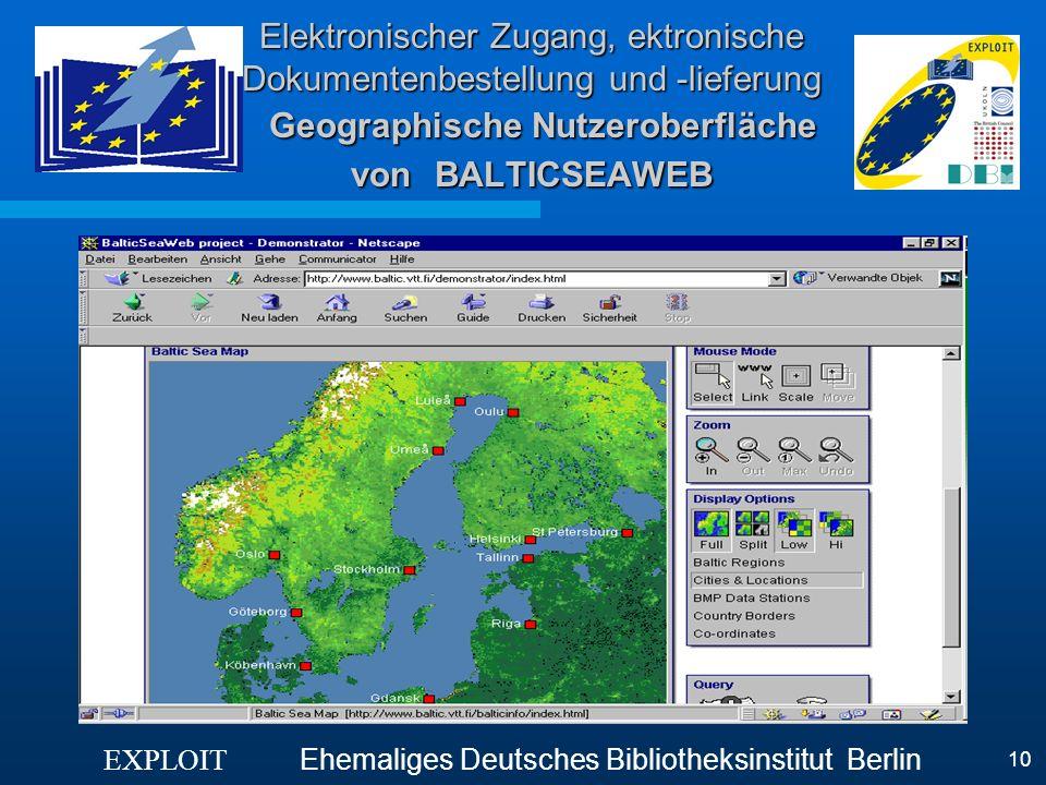 Elektronischer Zugang, ektronische Dokumentenbestellung und -lieferung Geographische Nutzeroberfläche von BALTICSEAWEB