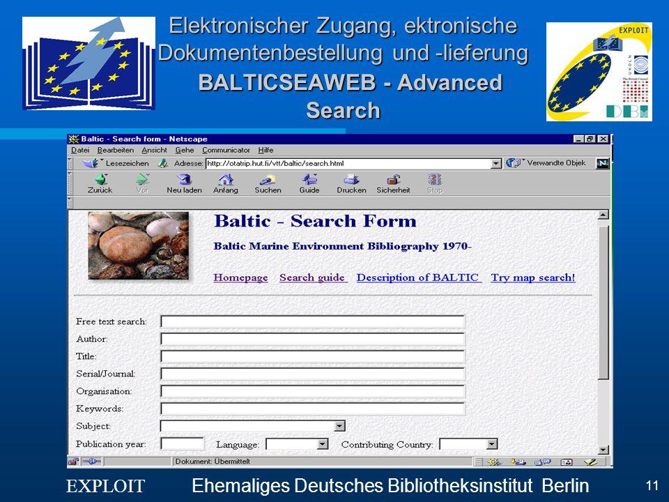 Elektronischer Zugang, ektronische Dokumentenbestellung und -lieferung BALTICSEAWEB - Advanced Search