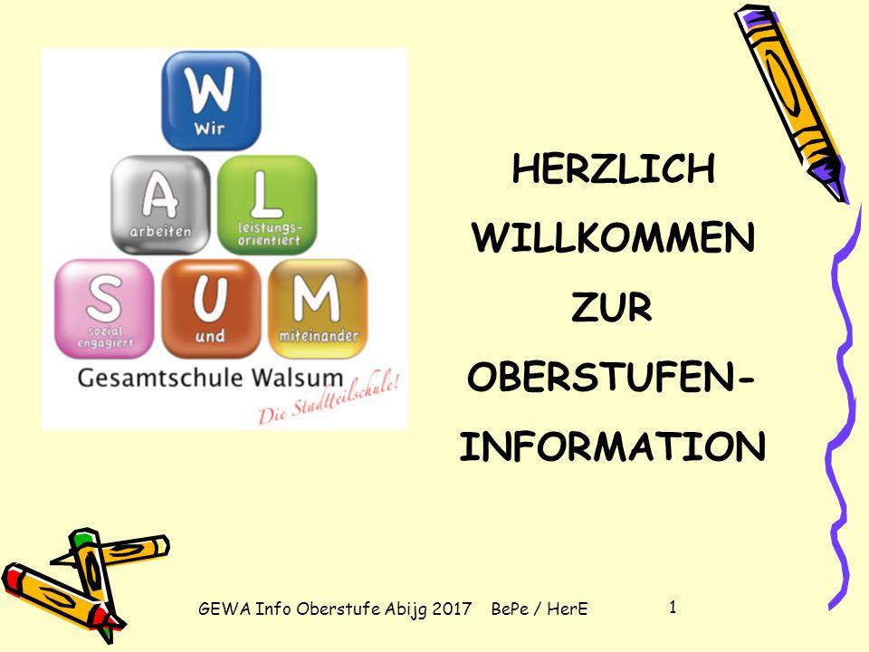 HERZLICH WILLKOMMEN ZUR OBERSTUFEN-INFORMATION