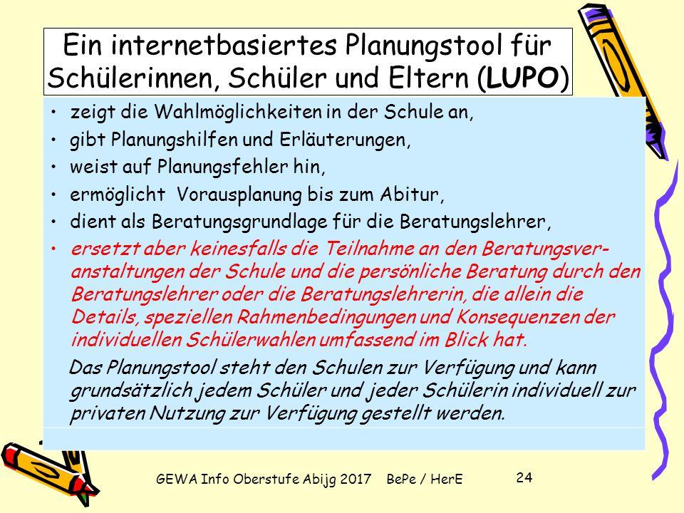 GEWA Info Oberstufe Abijg 2017 BePe / HerE