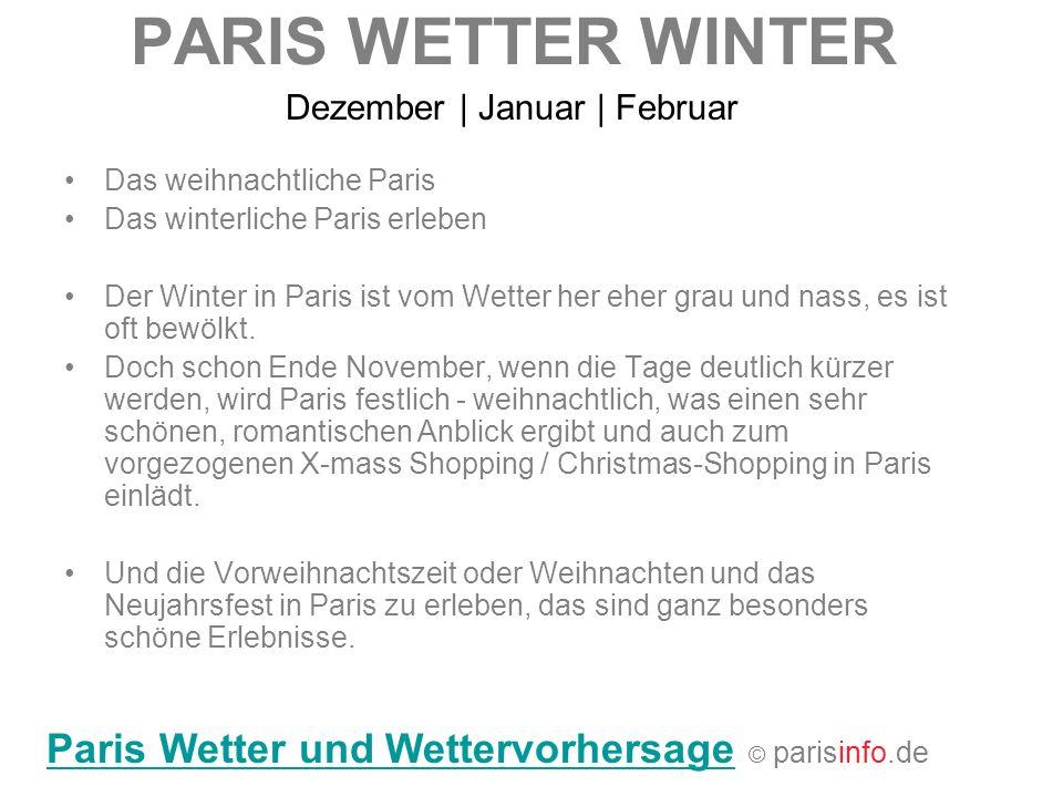 PARIS WETTER WINTER Paris Wetter und Wettervorhersage © parisinfo.de