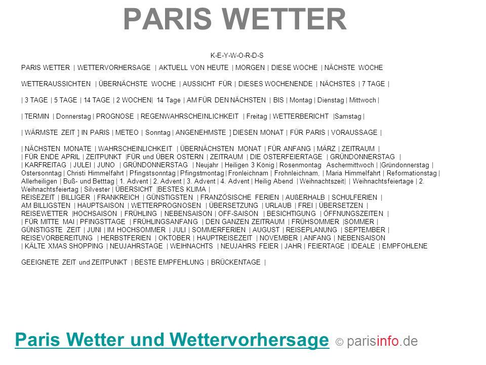 PARIS WETTER Paris Wetter und Wettervorhersage © parisinfo.de