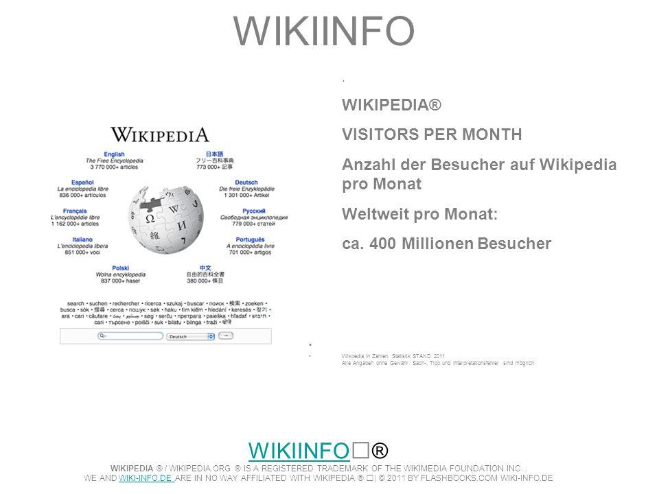 WIKIINFO. WIKIPEDIA® VISITORS PER MONTH. Anzahl der Besucher auf Wikipedia pro Monat. Weltweit pro Monat: