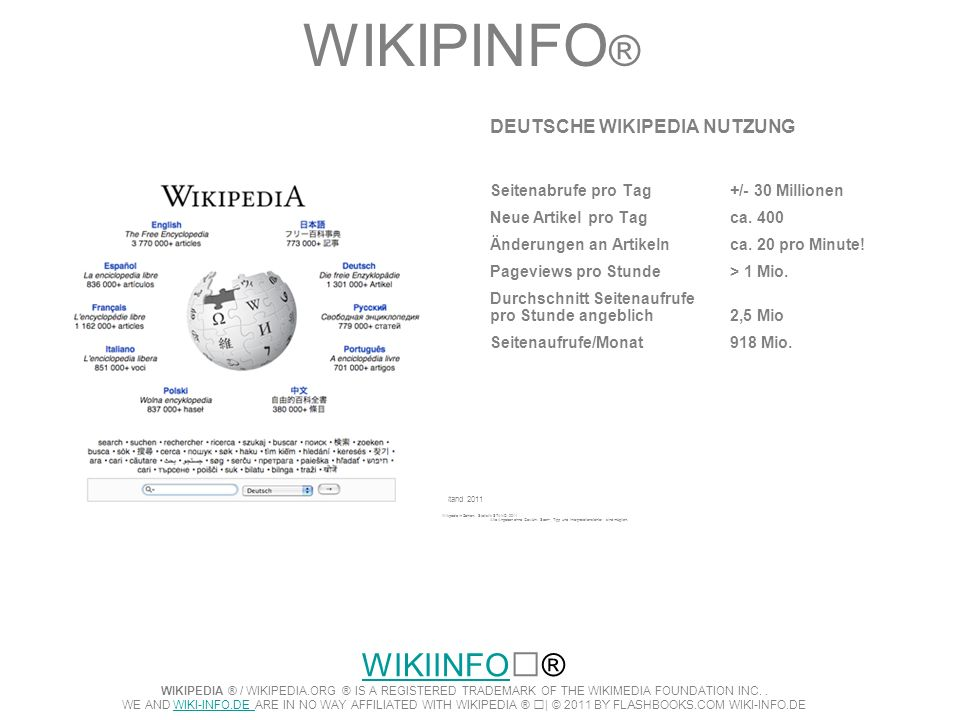 WIKIPINFO® DEUTSCHE WIKIPEDIA NUTZUNG. Seitenabrufe pro Tag +/- 30 Millionen. Neue Artikel pro Tag ca. 400.