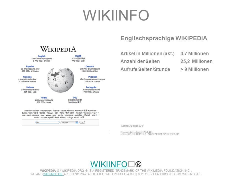 WIKIINFO Englischsprachige WIKIPEDIA. Artikel in Millionen (akt.) 3,7 Millionen. Anzahl der Seiten 25,2 Millionen.