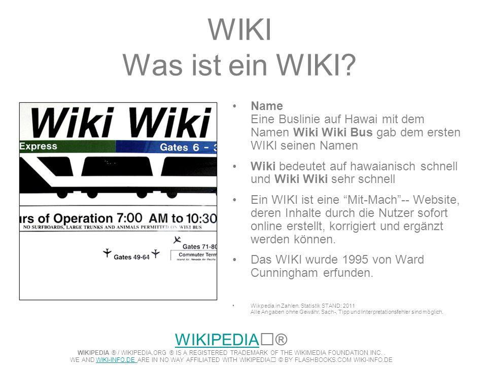 WIKI Was ist ein WIKI Name Eine Buslinie auf Hawai mit dem Namen Wiki Wiki Bus gab dem ersten WIKI seinen Namen.