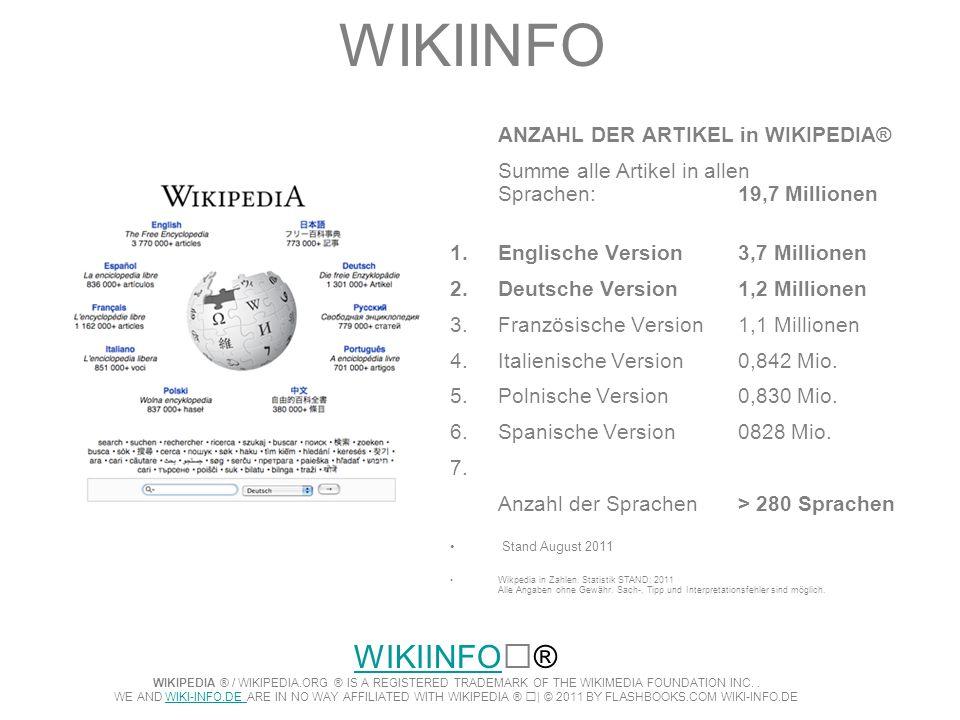 WIKIINFOANZAHL DER ARTIKEL in WIKIPEDIA® Summe alle Artikel in allen Sprachen: 19,7 Millionen. Englische Version 3,7 Millionen.