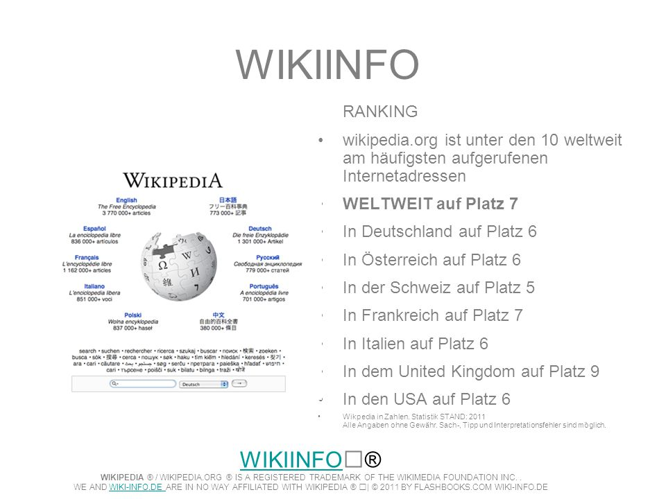 WIKIINFO RANKING. wikipedia.org ist unter den 10 weltweit am häufigsten aufgerufenen Internetadressen.