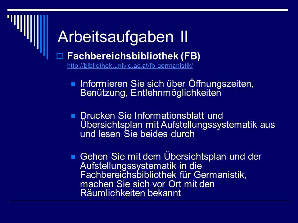 Arbeitsaufgaben II Fachbereichsbibliothek (FB)