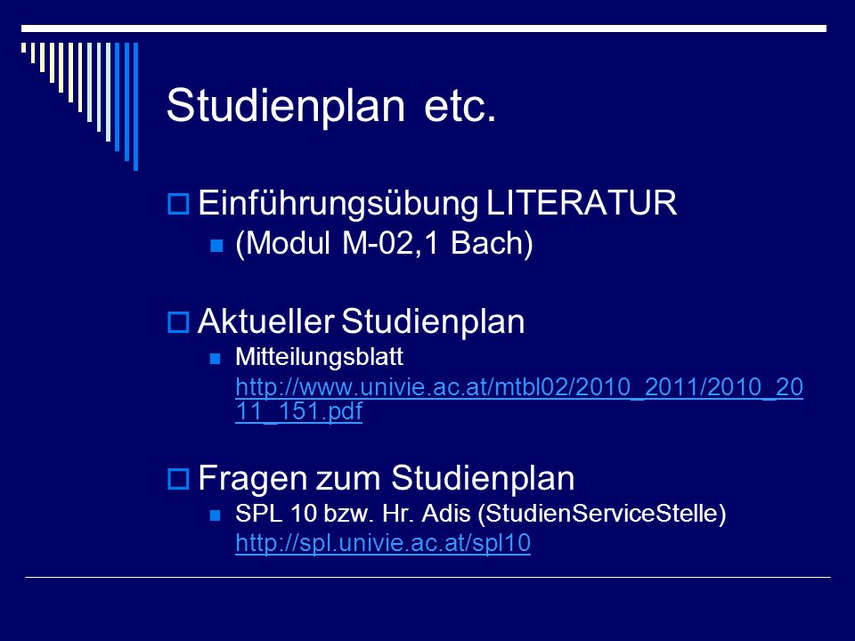 Studienplan etc. Einführungsübung LITERATUR Aktueller Studienplan