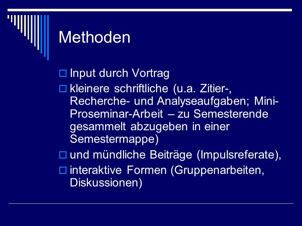 Methoden Input durch Vortrag