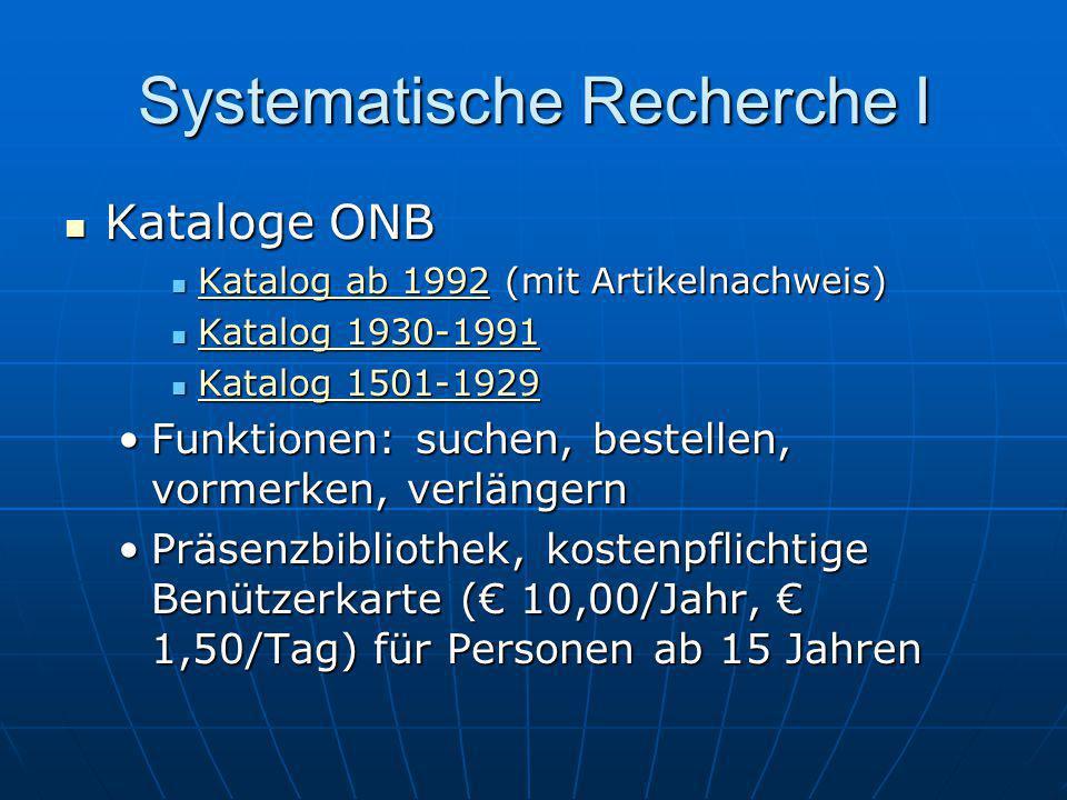 Systematische Recherche I