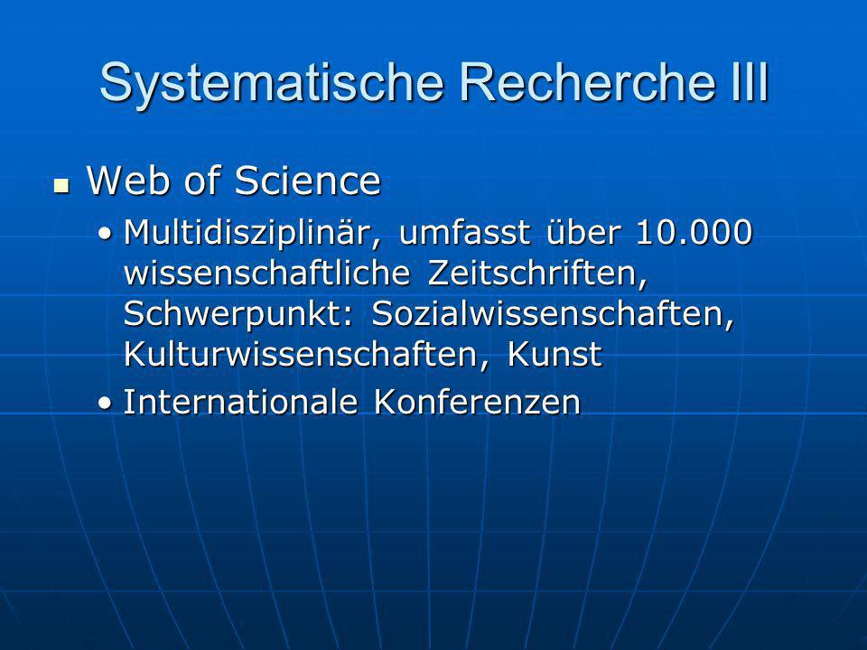 Systematische Recherche III