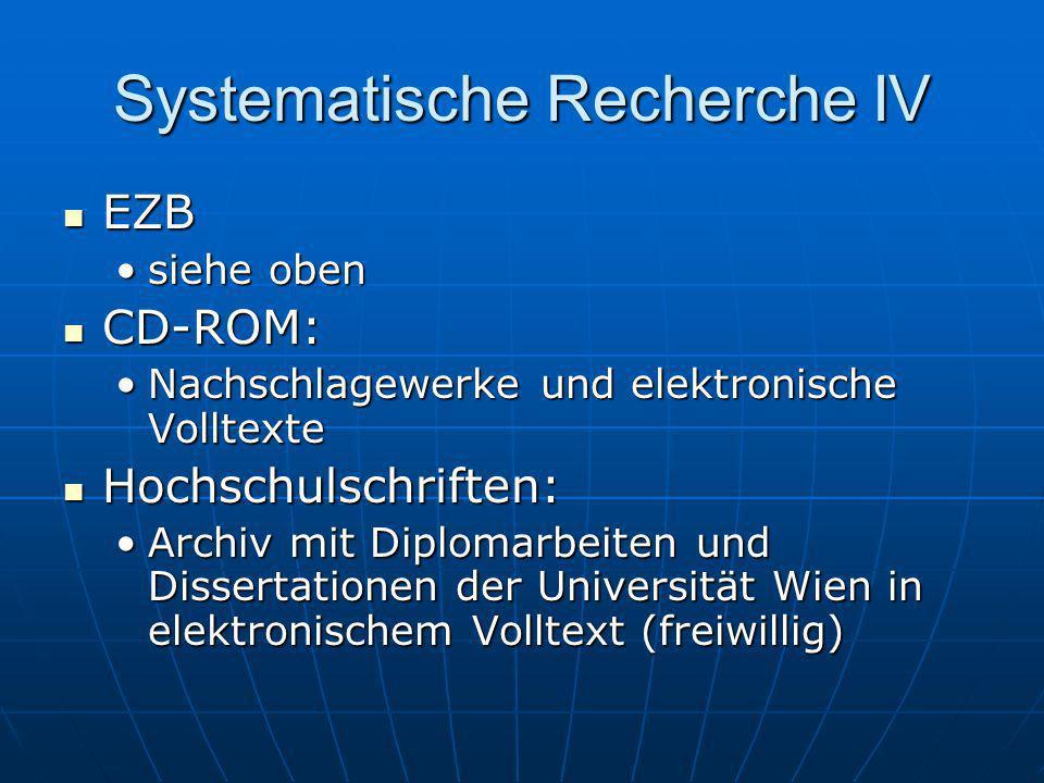 Systematische Recherche IV