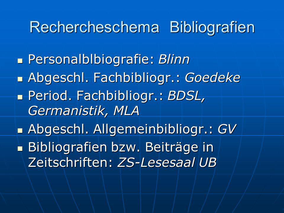 Rechercheschema Bibliografien